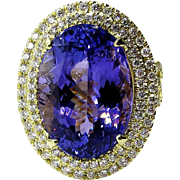 Impressive 13.49ct Estate Oval TANZANITE DIAMOND Fashion Cocktail 18k Yellow Gold Ring