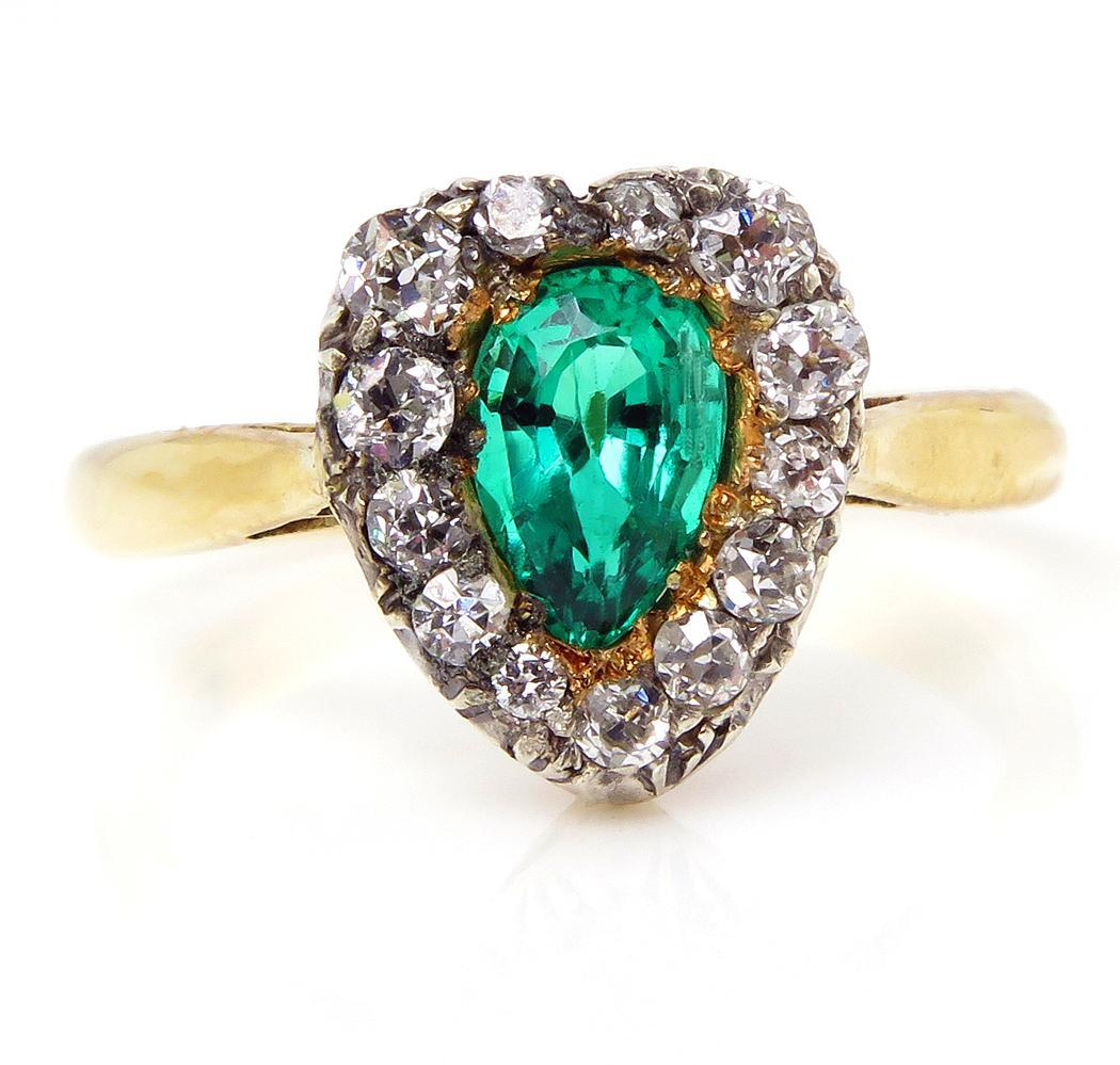 Gia Victorian 100ct Antique Vintage Green Colombian Old Pear Shape Emerald  And Diamond Cluster 18k Ring