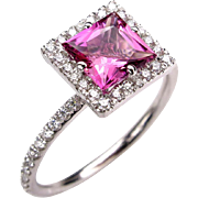 1.60ct Natural Princess Cut Pink Tourmaline Rubellite Diamond Halo 14k White Gold Engagement Wedding Ring