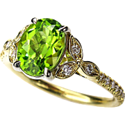 Vintage 1.82ctw OVAL Cut Natural Peridot Engagement Diamond Wedding Floral Ring In 18k Yellow Gold