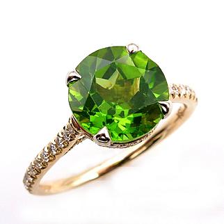 3.40ct ROUND Cut Natural PERIDOT Engagement DIAMOND Wedding Pave 18k Yellow Gold Ring