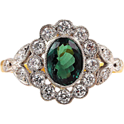 Rare Gem AGL 2.27ctw Natural ALEXANDRITE Diamond Vintage Cluster Ring