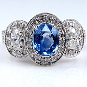 "Natural ""NO HEAT "" Vintage 2.28ct Blue Sapphire and Diamond Engagement Anniversary White Gold Ring"