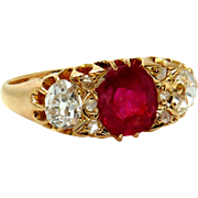 """GIA """"NO HEAT"""" Antique Victorian 2.30ct BURMA Red Ruby and Old Mine Diamond Engagement 18k Gold Ring"""