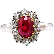 "Fine GIA ""NO HEAT"" 2.67ct Burma Pigeon Blood Red Ruby Diamond Cluster Platinum Ring"
