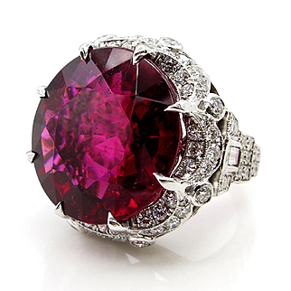 Museum Quality...Huge GIA Vintage 31.27ctw Round Red RUBELLITE TOURMALINE Diamond Platinum Ring