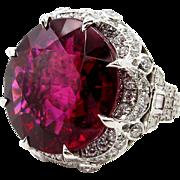 Museum Quality...Huge GIA Vintage 31.27ctw Round Red RUBELLITE TOURMALINE Diamond Platinum Ring