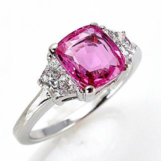 "GIA ""NO HEAT"" 3.00ct Natural Hot Deep Pink Cushion Sapphire and Diamond Three Stone Engagement Ring"