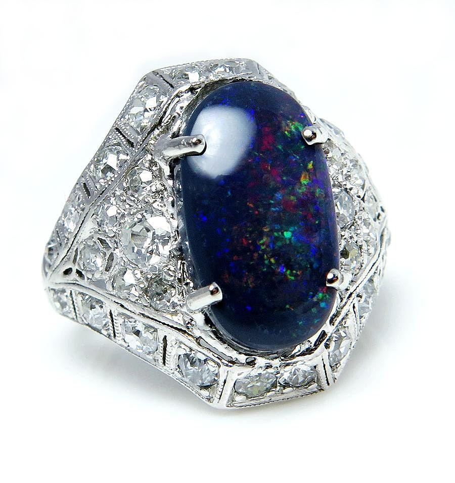 3.45ctw Authentic Late Edwardian/ Art Deco Black Australian Opal Diamond Platinum Ring