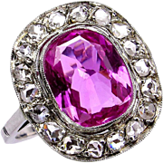 "GIA Natural ""NO HEAT"" 3.68ct Hot Vivid Pink Sapphire and Diamond 18k Art Deco Edwardian Ring"
