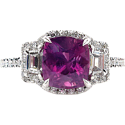 "GIA ""NO HEAT"" 3.71ct Natural Deep Vivid Pink Cushion Sapphire and Diamond Halo Platinum Ring"