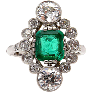 Fine Art Nouveau 4.00ctw GIA COLOMBIA Green Emerald and OLD European Cut Diamond Platinum Ring
