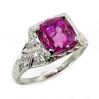 "GIA Natural ""NO HEAT"" 4.02ct Hot Vivid Pink Sapphire and Diamond Platinum Art Deco Ring"