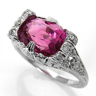Art Deco GIA UNHEATED 4.11ct Natural Hot Vivid Pink Ceylon Cushion Sapphire and Diamond Platinum Ring