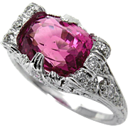 Art Deco GIA UNHEATED 4.11ct Natural Hot Vivid Pink Ceylon Cushion Sapphire and Diamond Platinum Ring
