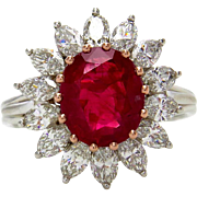 "GIA ""NO HEAT"" 4.43ct BURMA Natural Pigeon Blood Red Ruby Diamond Cluster Platinum Vintage Ring"