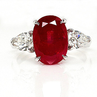 GIA UNHEATED 4.58ct Natural BURMA Red Oval RUBY and Diamond Engagement Platinum Ring