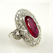 GIA Certified 4.70CT Antique Vintage Ruby and Diamond Cluster Ring in 18k White Gold ,CIRCA 1940s