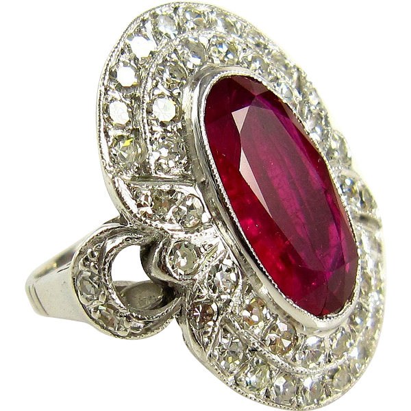 gia certified 4 70ct antique vintage ruby and diamond