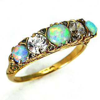 Original Victorian Antique Opal and Old Diamond Engagement Wedding ring, Anniversary Five Stone Band in 18k Yellow Gold