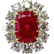 GIA 5.68ct Natural BURMA Red Oval Unheated RUBY and Diamond Engagement Platinum Cluster Ring