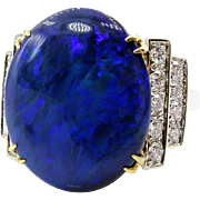 An exquisite HUGE 5.89ctw Black Australian OPAL & Diamond 18K French Ring