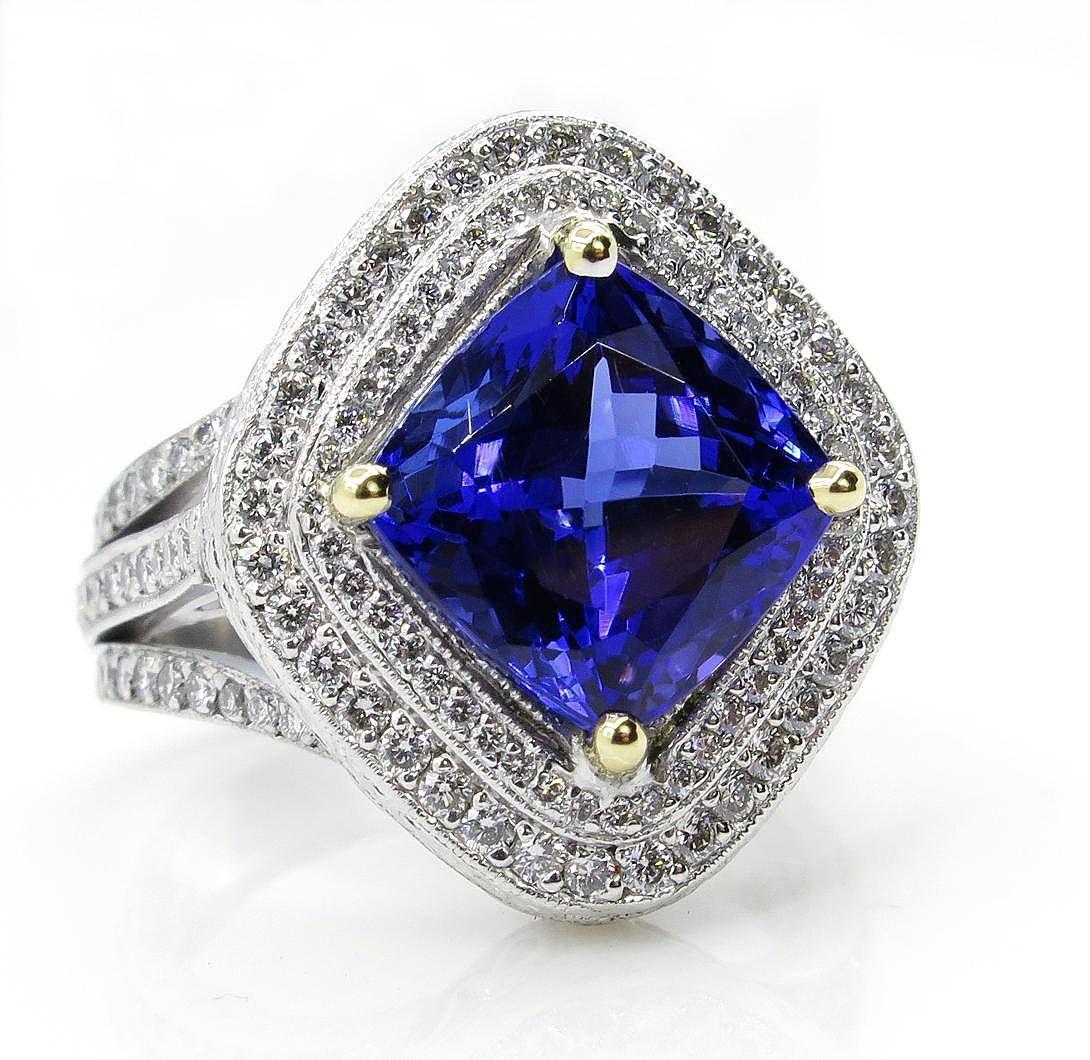 Fine 6.0ctw Vintage Cushion Natural Dark TANZANITE Diamond Platinum 18k Ring