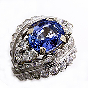 French, Art Deco GIA 6.5Ctw Sapphire Diamond Cluster Ring in Platinum, Circa 1930
