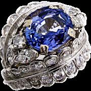 French, Art Deco GIA 6.5Ctw Sapphire Diamond Cluster Ring in Platinum, Circa 1930