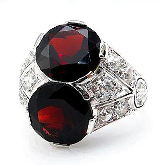 Art Deco 6.56ct Twin Diamond and Garnet Antique Vintage Platinum Ring
