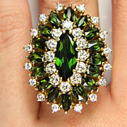 9.73ctw Vintage Estate Retro Green TOURMALINE with Diamonds in 18k Yellow Gold Ballerina Cocktail, Cluster Ring