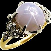Vintage 9.58ct Natural No-Heat STAR Sugaloaf SAPPHIRE Diamond Ring in 18k & Platinum