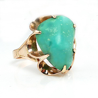 Vintage Soviet Russian 14k Rose Gold and Cabochon Turquoise Open Work Solitaire Fashion Ring