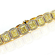 Magnificent 27.28ct Natural Fancy Yellow Radiant Diamonds Line Bracelet 18k Yellow Gold