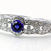 Fine 5.53ctw TANZANITE Deep AAA Violetish Blue Diamond 14k White Gold Bangle Cuff Bracelet