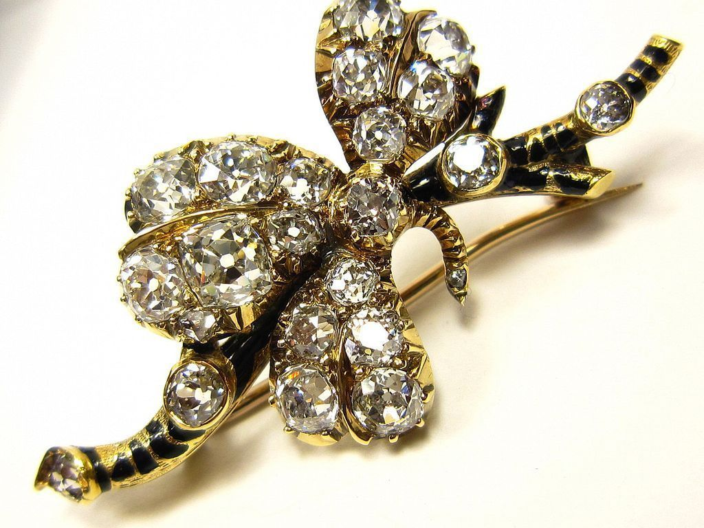 Rare 2.66ct Victorian, Circa 1880s Old Mine diamond and enamel trefoil Brooch by Mappin & Webb