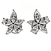 Estate 1.69ct Pear Shaped and Marquise Diamond ClusterFlower Platinum Stud Earrings