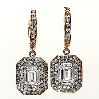 Fantastic 3.02ctw GIA Emerald Cut Diamond Dangling Hanging Halo Pave 14k Rose White Gold Earrings