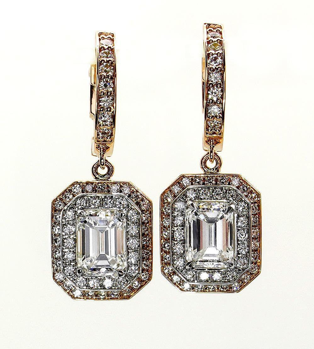 3.02ctw GIA Emerald Cut Diamond Dangling Hanging 14k Gold Earrings