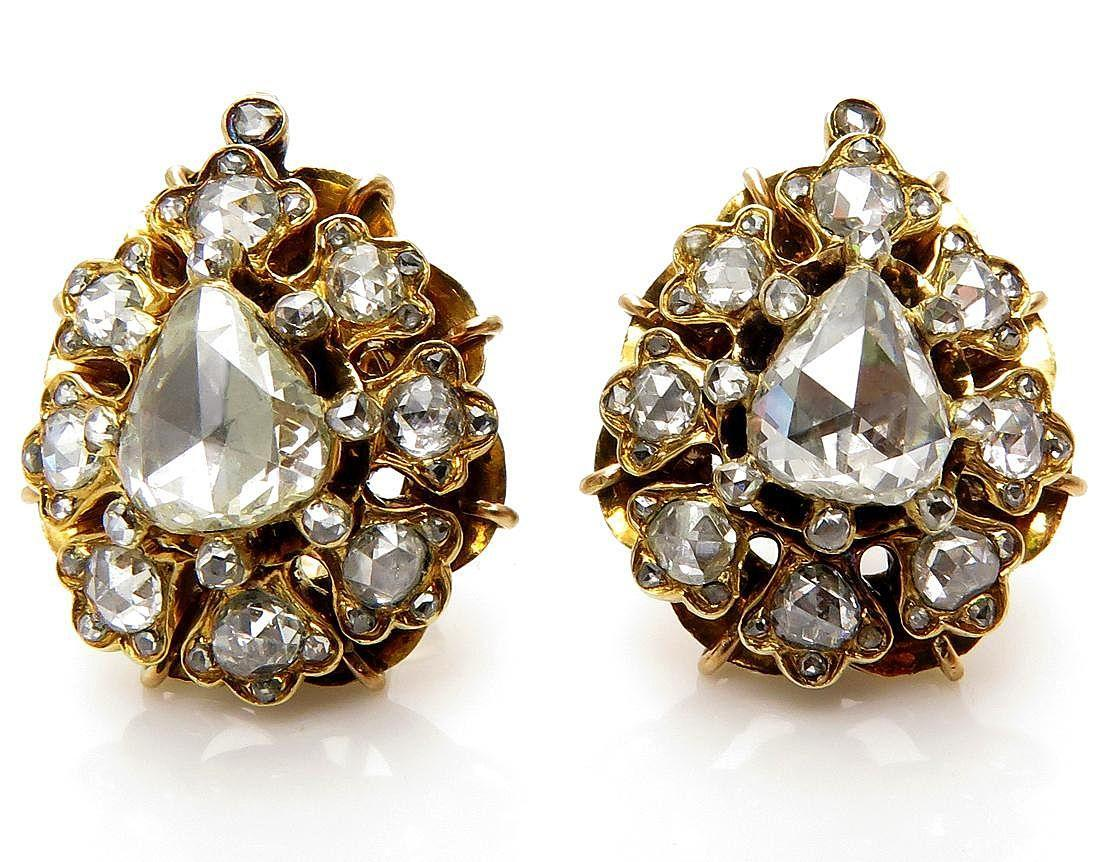 Authentic Victorian 300ctw Old Mine Rose Cut Diamond Cluster Gold Stud  Earrings