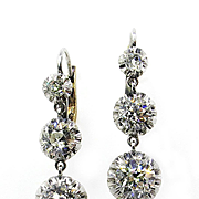 3.22ct Antique Victorian Old EUROPEAN, MINE Diamond Drop Earrings Plat 18K Gold