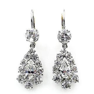 Vintage 4.20ct Antique Old European Pear Shaped Dangling Drop Platinum 18k Gold Cluster Earrings