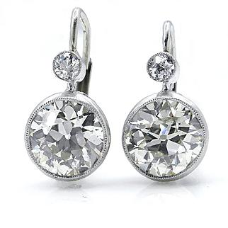 Art Deco 4.25ct Old European cut Diamond Drop Hanging SOLITAIRE EARRINGS in Platinum