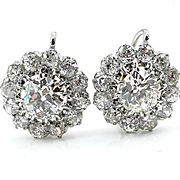 Victorian 5.13ctw Antique Old European Diamond Cluster Drop Platinum 18k Gold Earrings