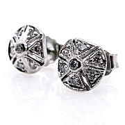 Diamond Art Deco Antique Vintage Stud Post 18k White Gold Earrings