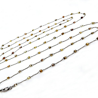 """26ct BY THE YARD Natural Fancy Color Briolette Diamond Bead Link Chain 50.5"""" Long Necklace in 18k White Gold"""