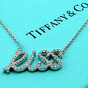 Authentic Retired TIFFANY & Co Paloma Picasso Diamond Kiss Necklace Pendant - Graffiti Collection