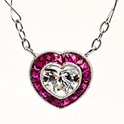 Art Deco 1.0ctw Vintage Heart Shaped DIAMOND and RUBY Drop PLATINUM Pendant Necklace