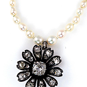 VICTORIAN 1.72ct Antique Vintage DIAMOND Pendant on Seed Pearl Necklace