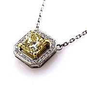 Estate GIA 1.76ctw Fancy Yellow Radiant Diamond Halo Solitaire Pendant Necklace 18k Gold , Signed by GRAFF